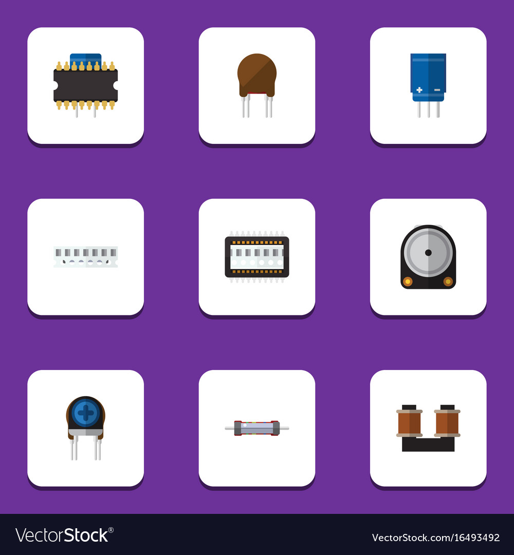 Flat icon technology set of microprocessor memory