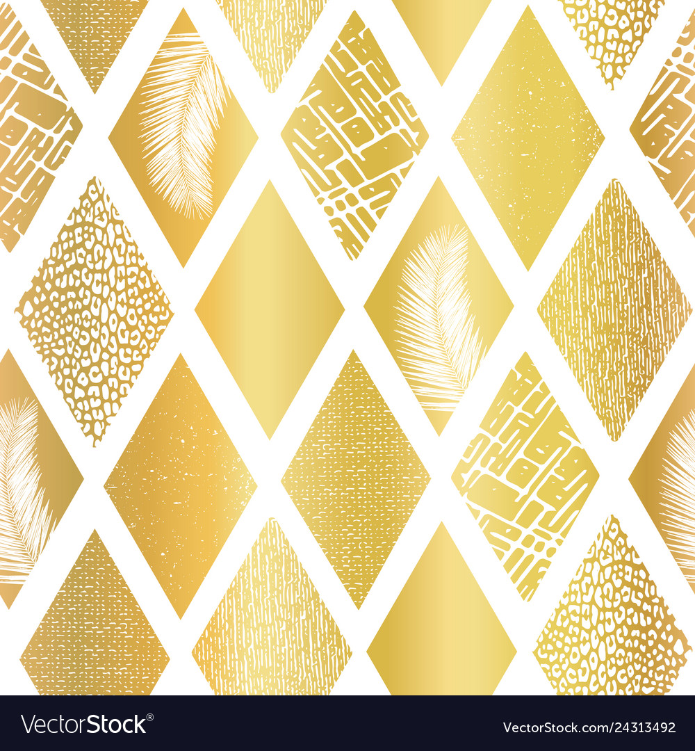 Gold foil collage rhombus shapes seamless