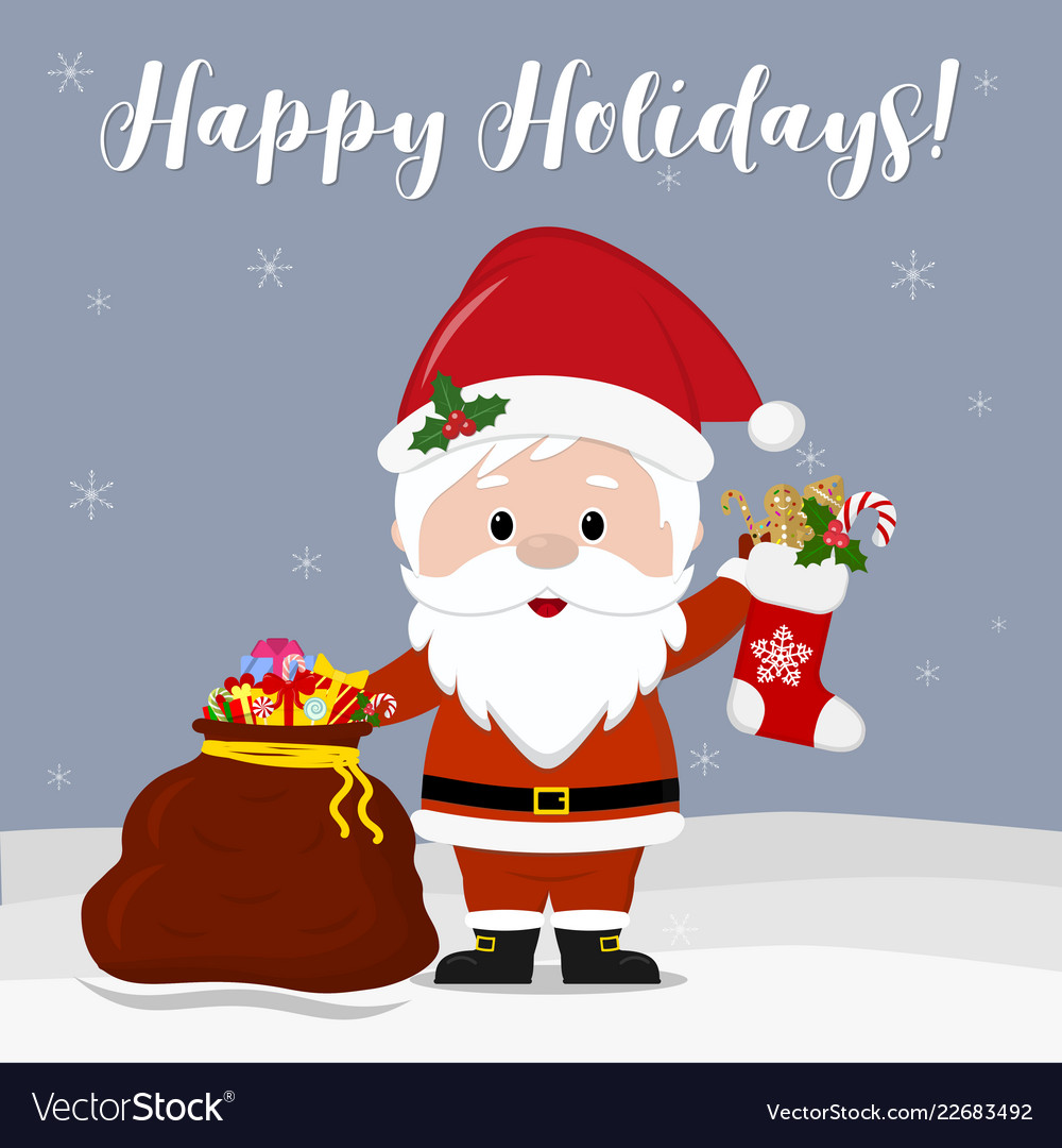 Merry Christmas Cute Santa Vector Image