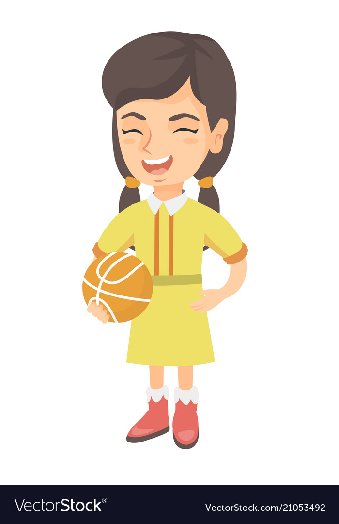 Laughing schoolgirl holding a basketball ball