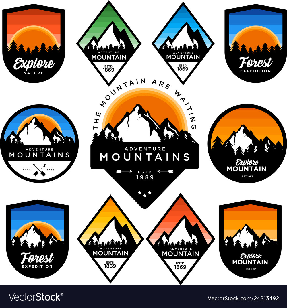Mountain badge set