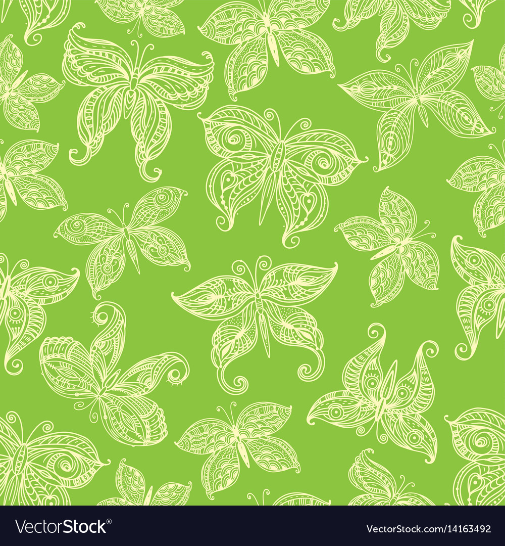 Seamless pattern with ornate butterflies