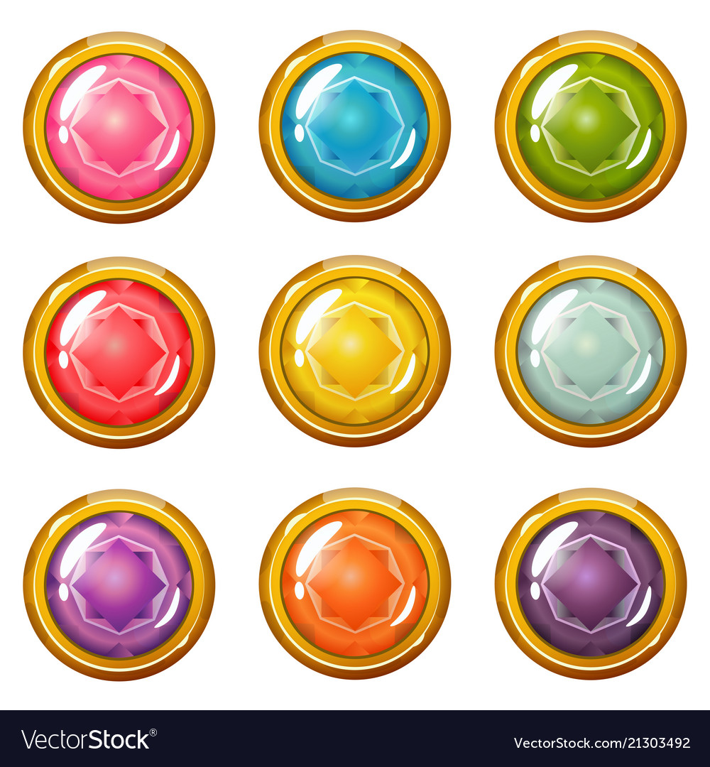 Set of bright golden-plated crystal buttons