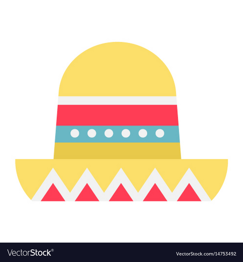Sombrero mexican hat flat icon travel tourism vector image