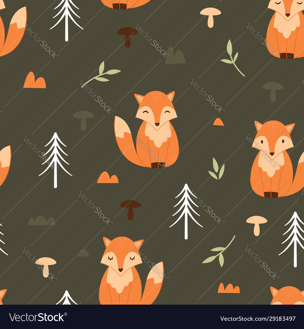 Adorable little fox seamless pattern