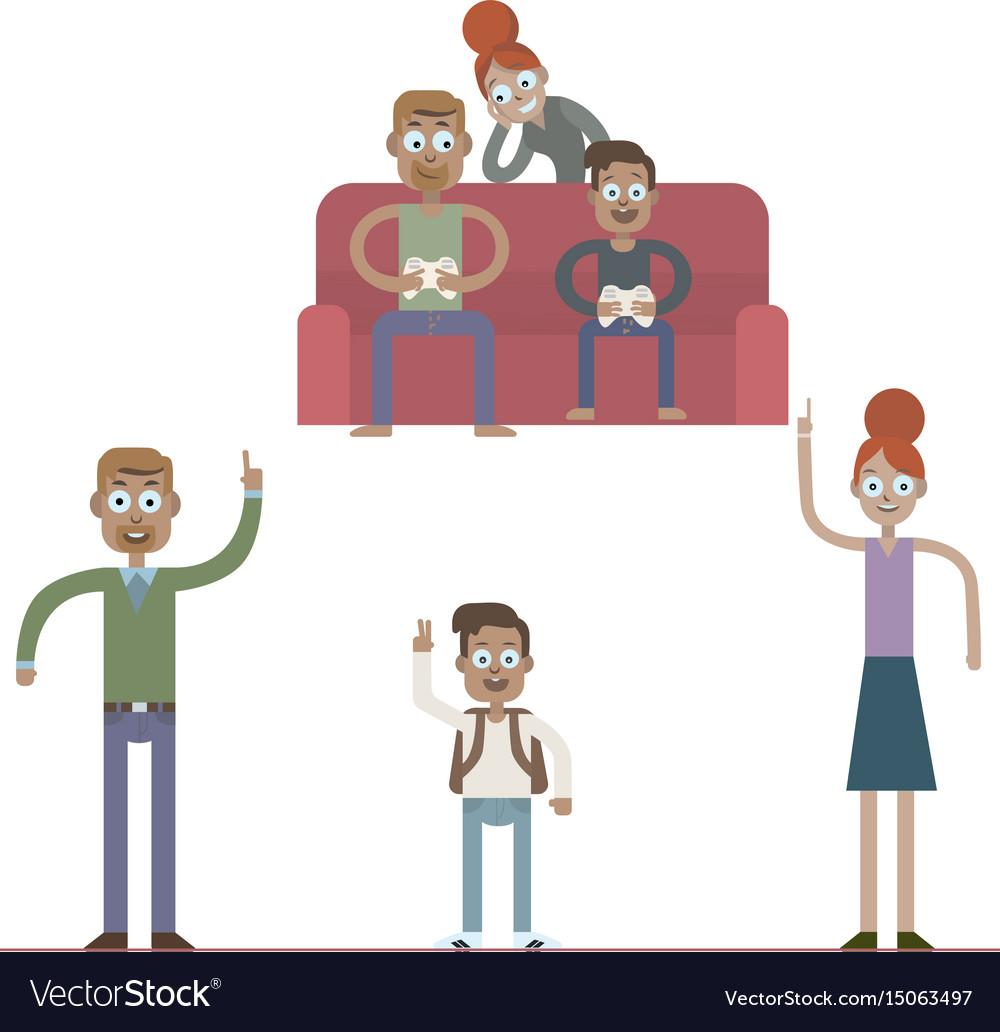 Cartoon family characters