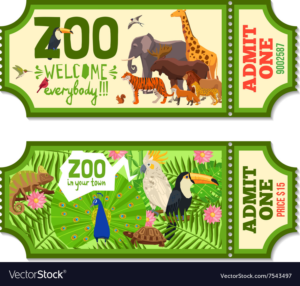 Colorful Zoo Tickets With Tropical Background vector image