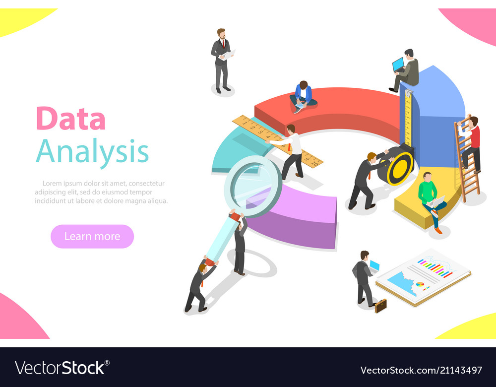 Data analysis flat isometric concept