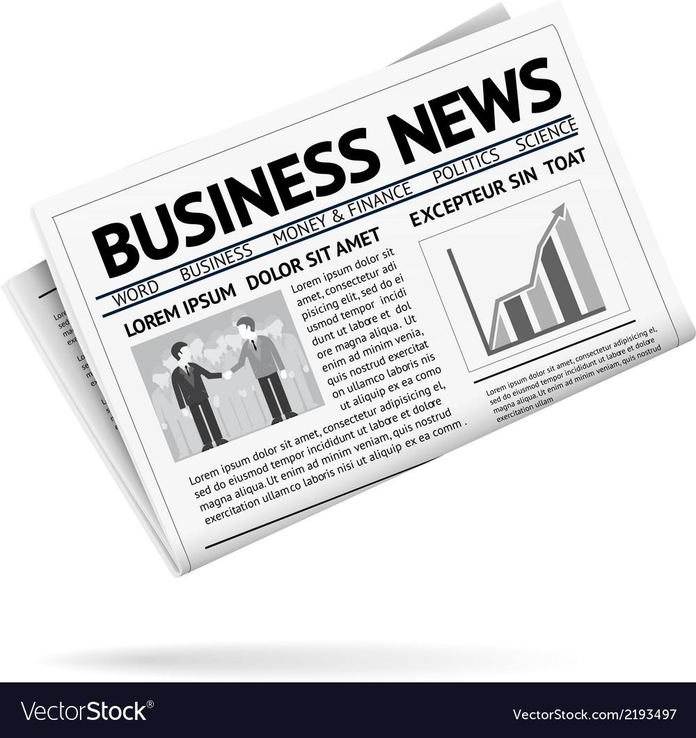 folded newspaper presenting business news vector image rh vectorstock com newspaper victoria bc newspaper vector free