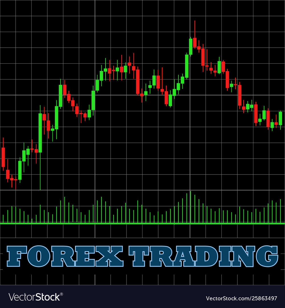 Forex Trading Japanese Candles Chart On A Black Vector Image