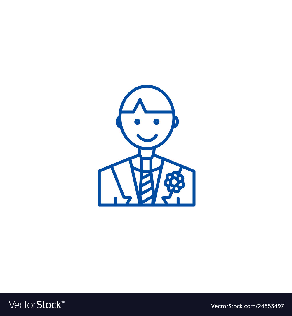 Groom line icon concept groom flat symbol