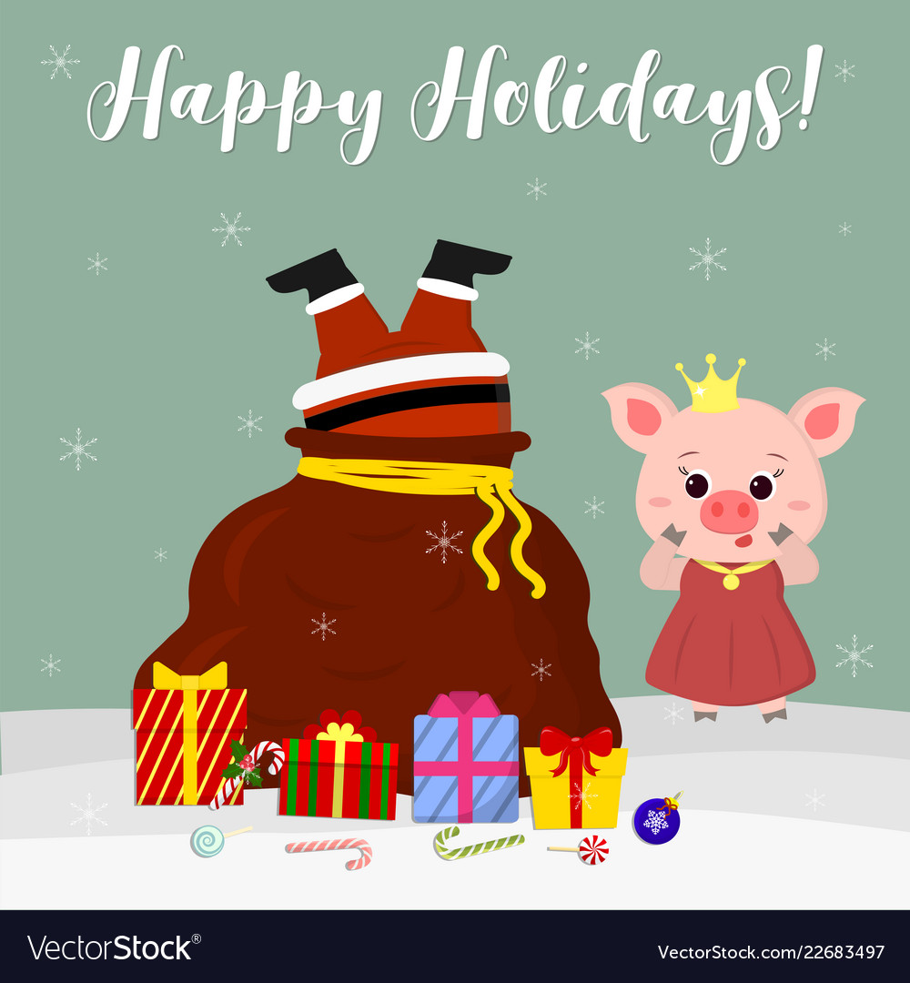 Happy new year and merry christmas cute pig Vector Image