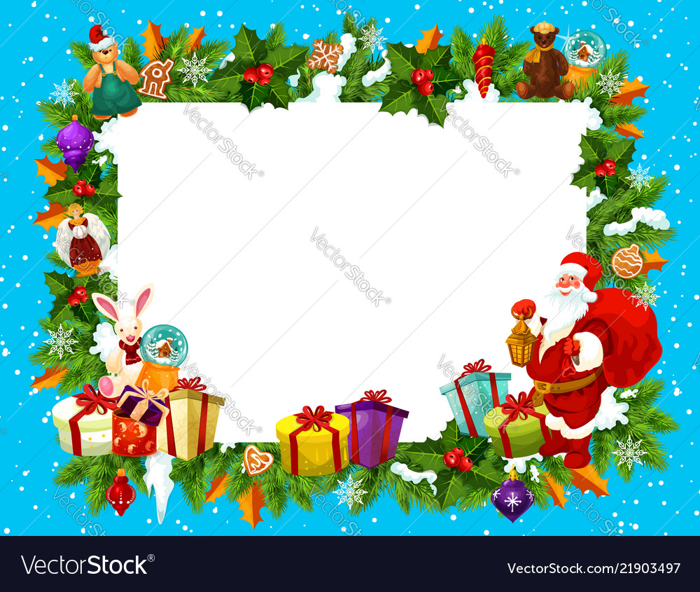 Holiday frame for merry christmas with santa claus