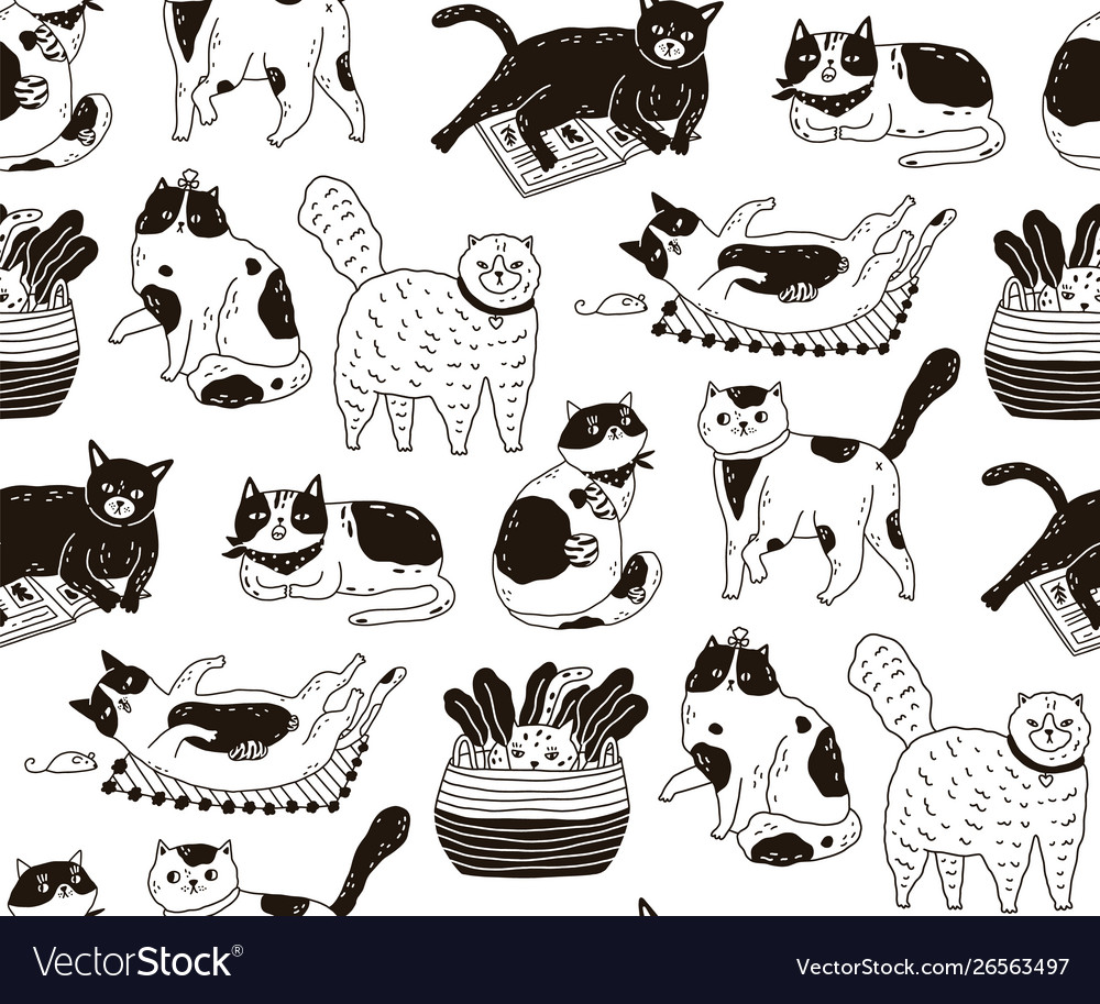 Monochrome seamless pattern with cats sleeping