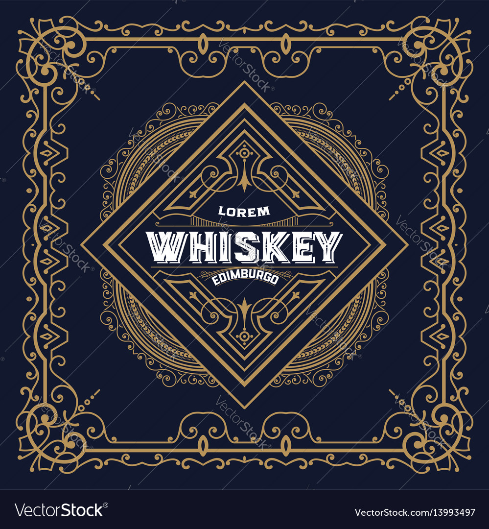 old whiskey label and vintage frame royalty free vector