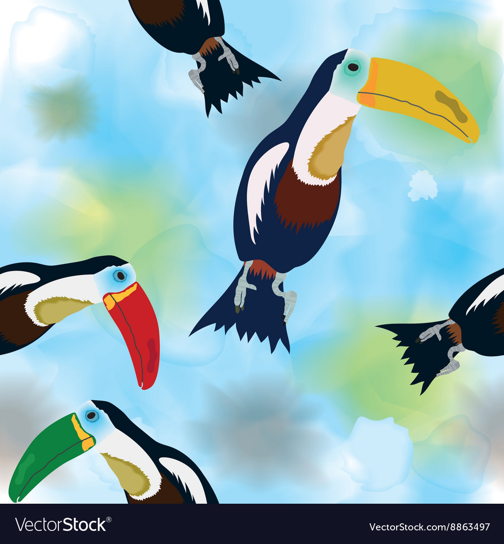 Pattern Toucans on watercolor background