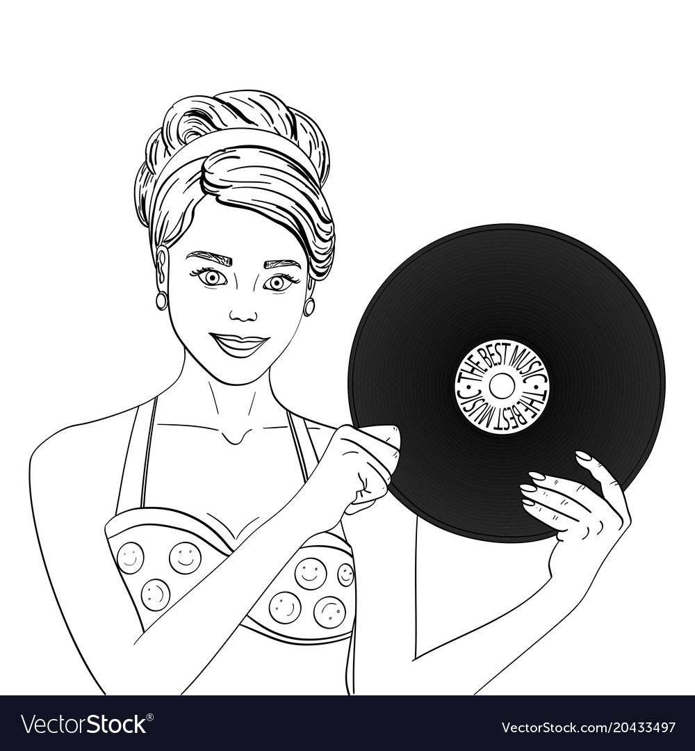 Pop art happy young woman with a phonograph record vector image