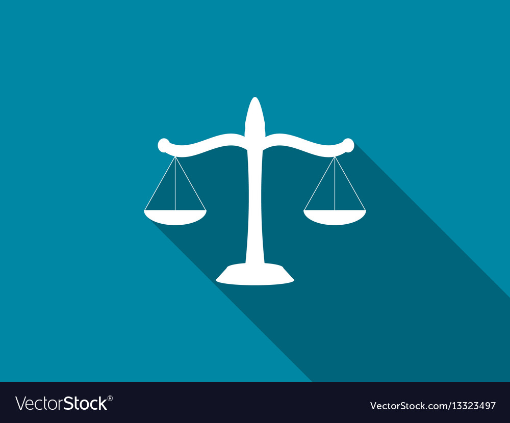 Scales of justice flat icon with long shadow