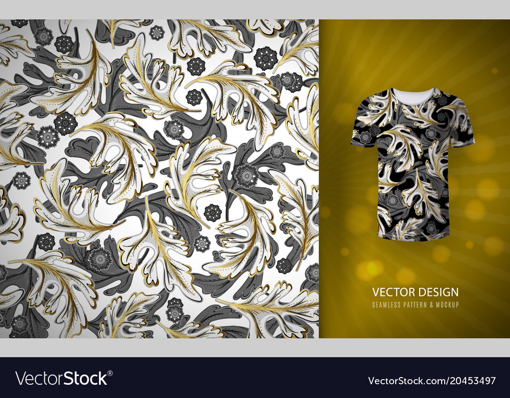 Seamless pattern gold glitter floral elements