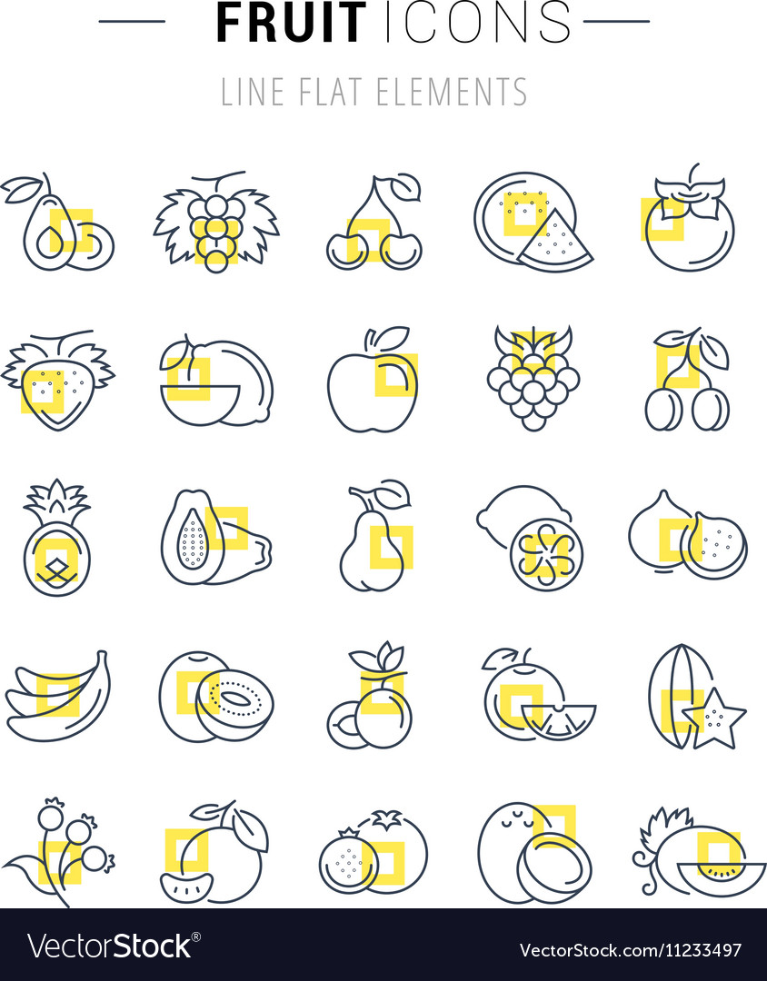 Set Flat Line Icons Fruit