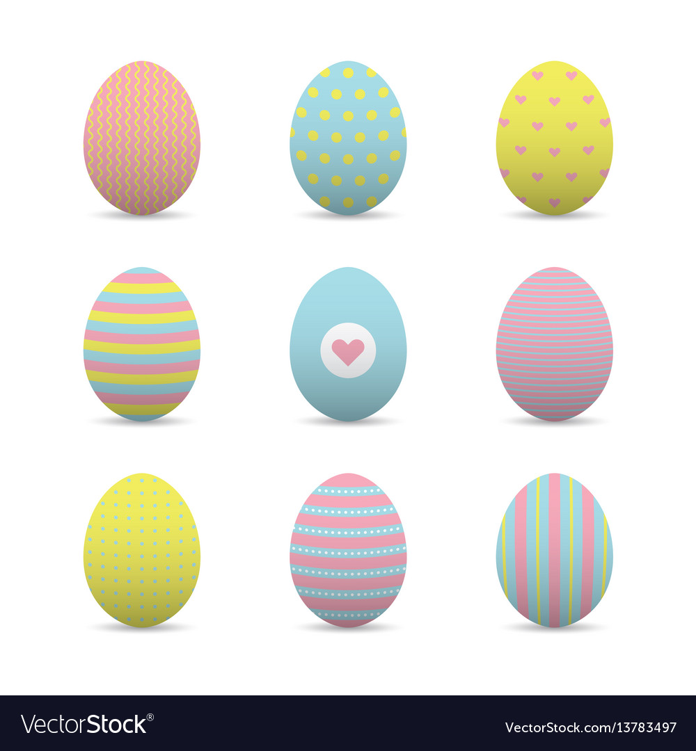 Set of colorful realistic easter eggs
