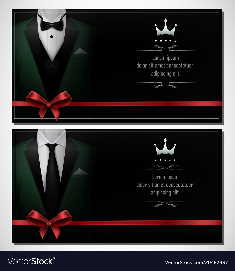 Set of green tuxedo business card templates and b vector image wajeb Gallery