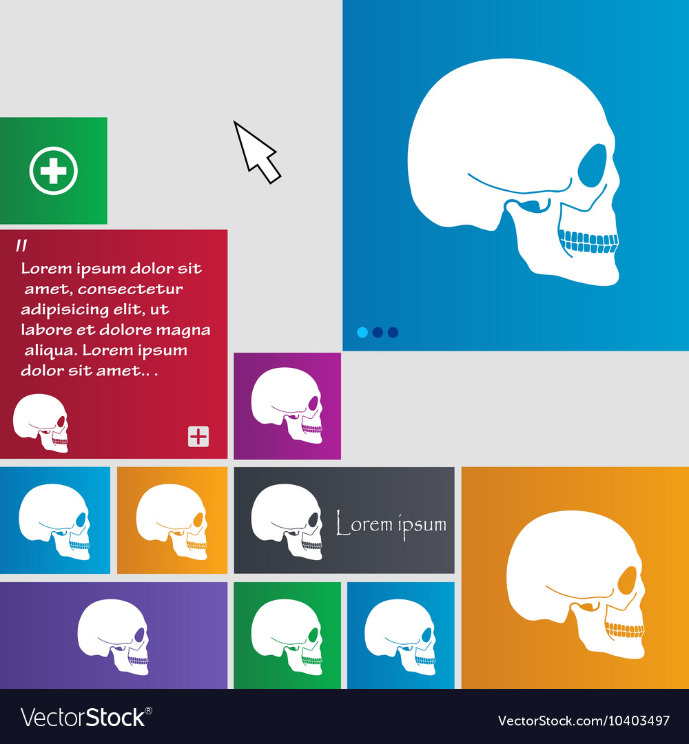 Skull icon sign buttons Modern interface website