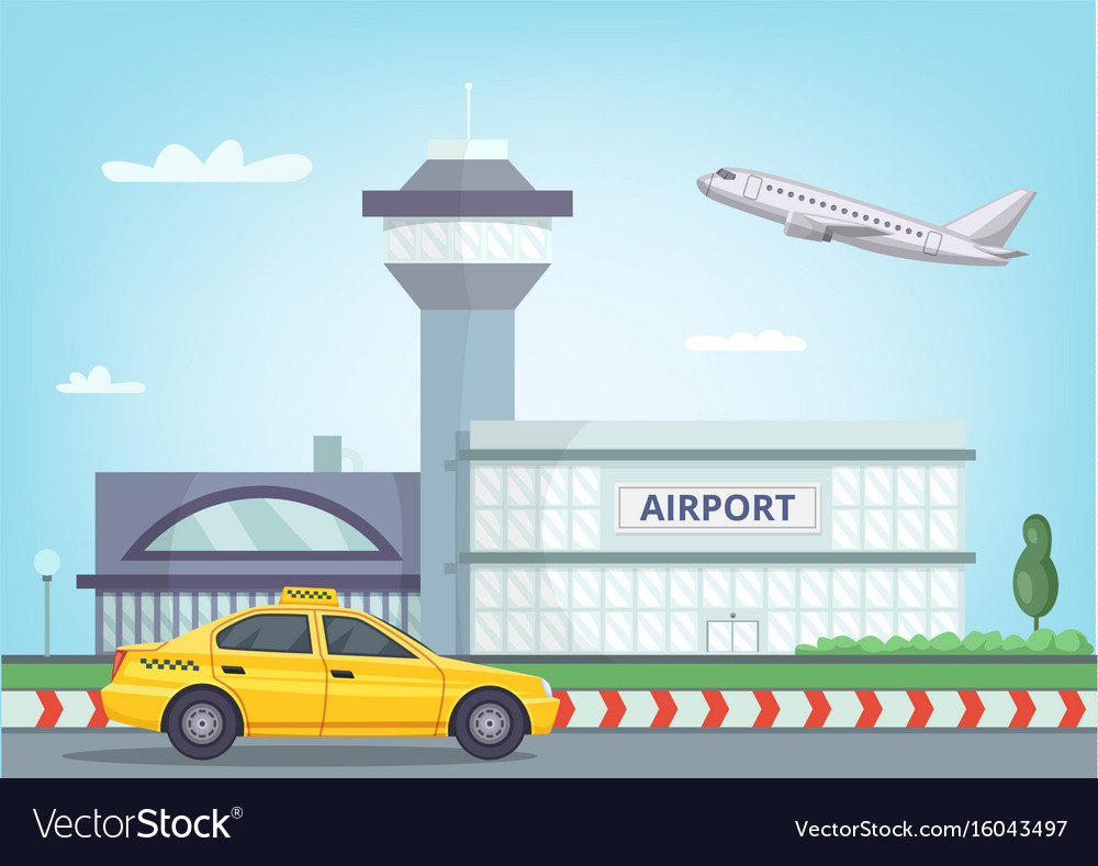 Urban background with airport building airplane