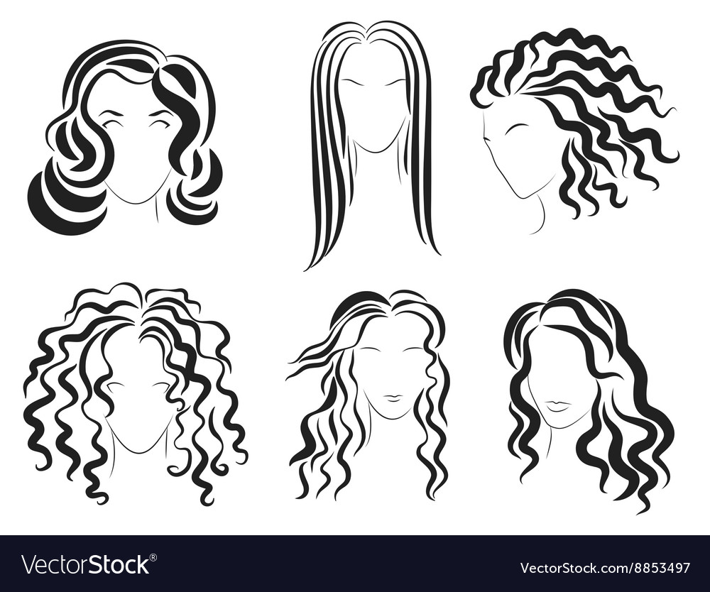 Women Face Hair Style Silhouette Logo Royalty Free Vector
