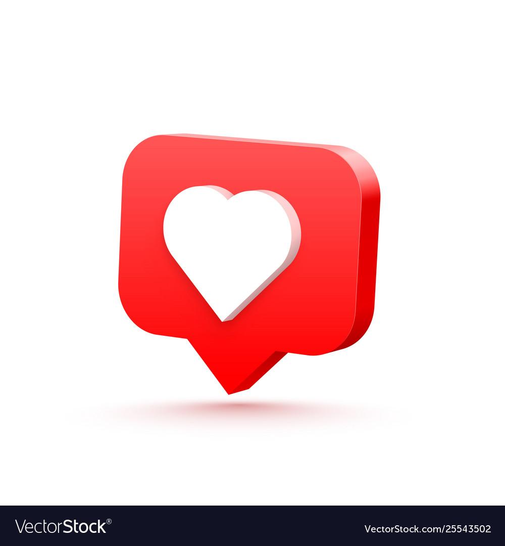 3d heart like social network white background