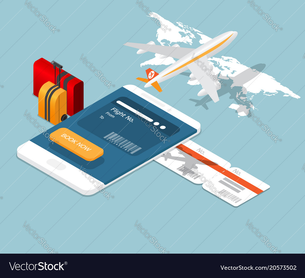 Airplane ticket online booking on smartphone