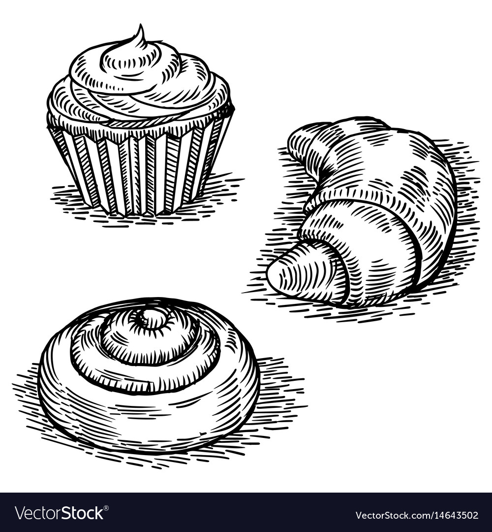 Bakery products engraving style vector image