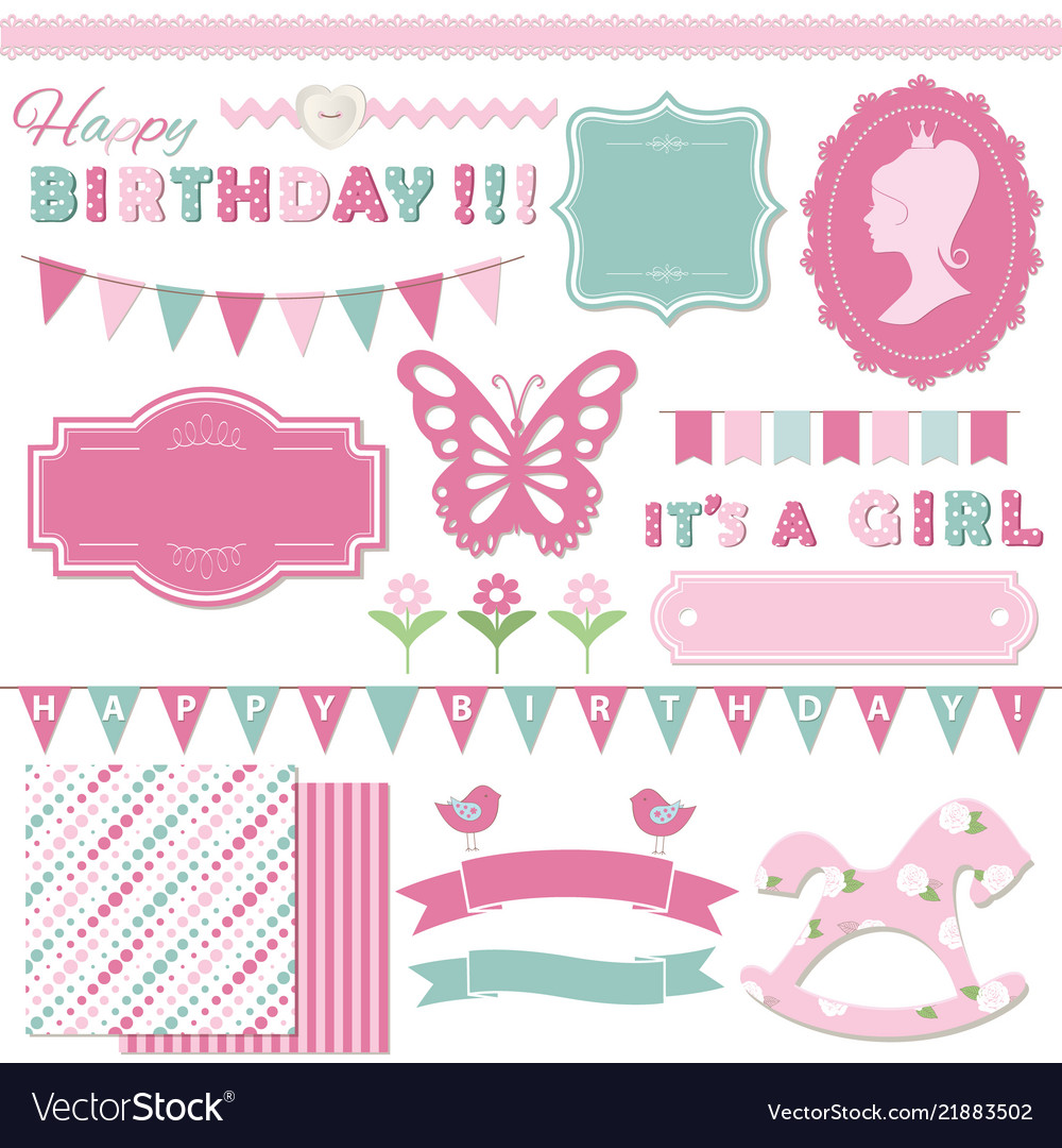Birthday and girl baby shower design elements
