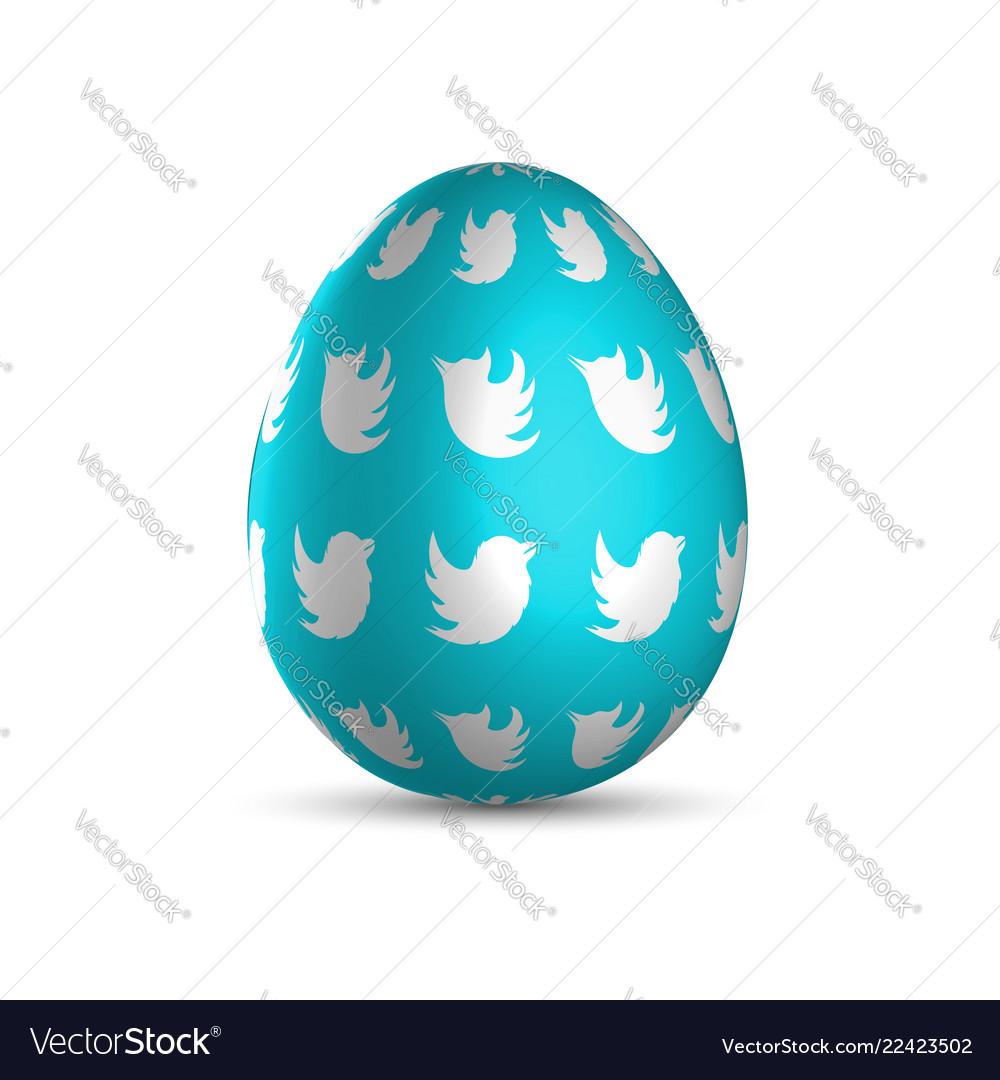 Blue easter egg with white birds and light shadow