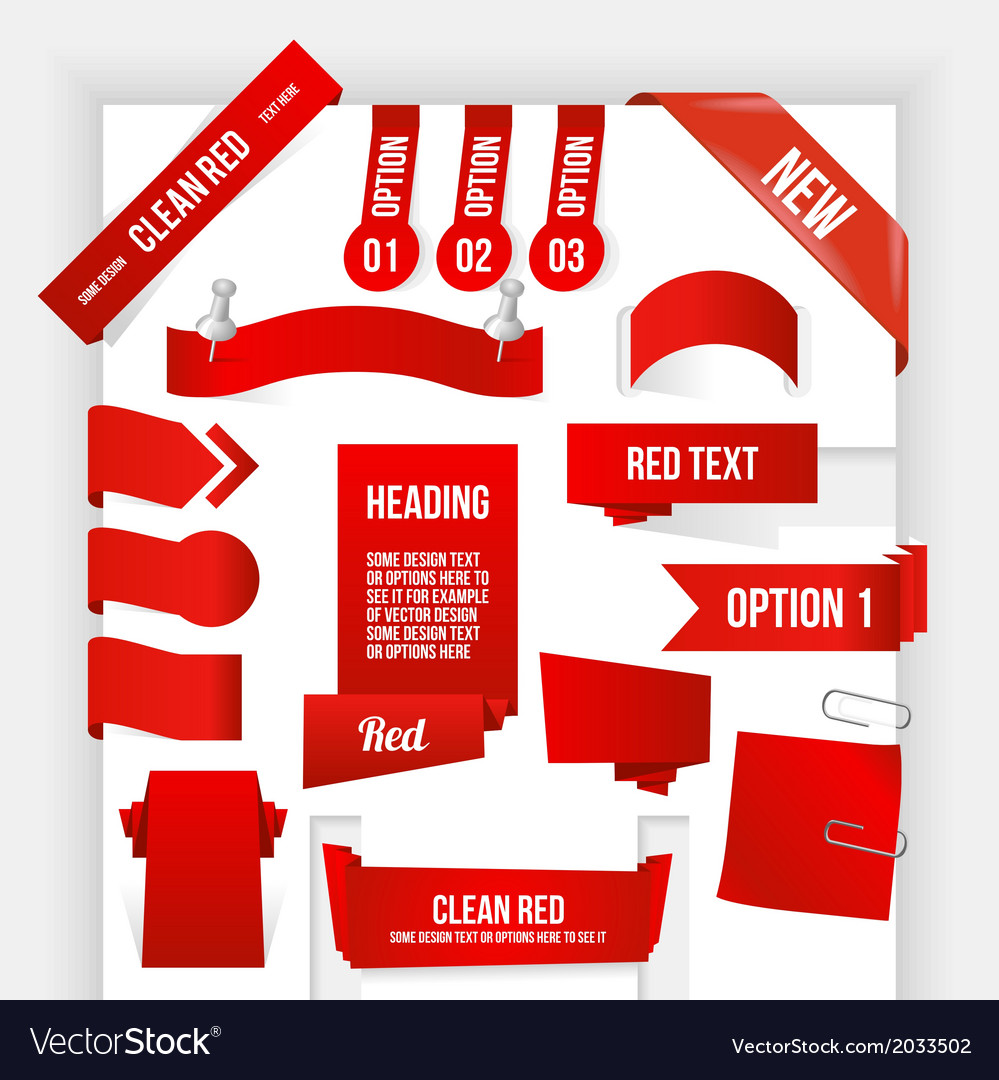 Bundle of Red Web Elements Corner and Ribbon