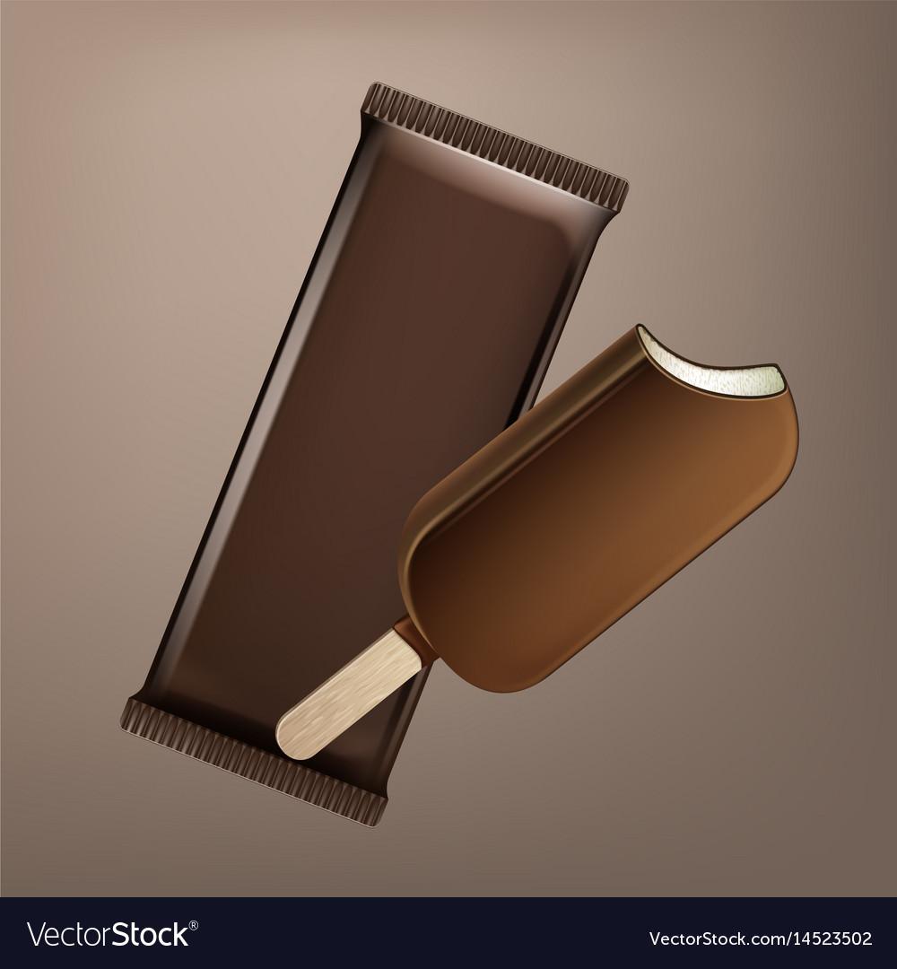 Choc-ice lollipop in chocolate glaze on stick