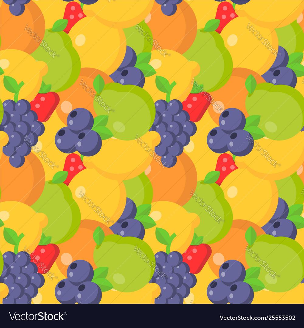 Flat fruits seamless pattern