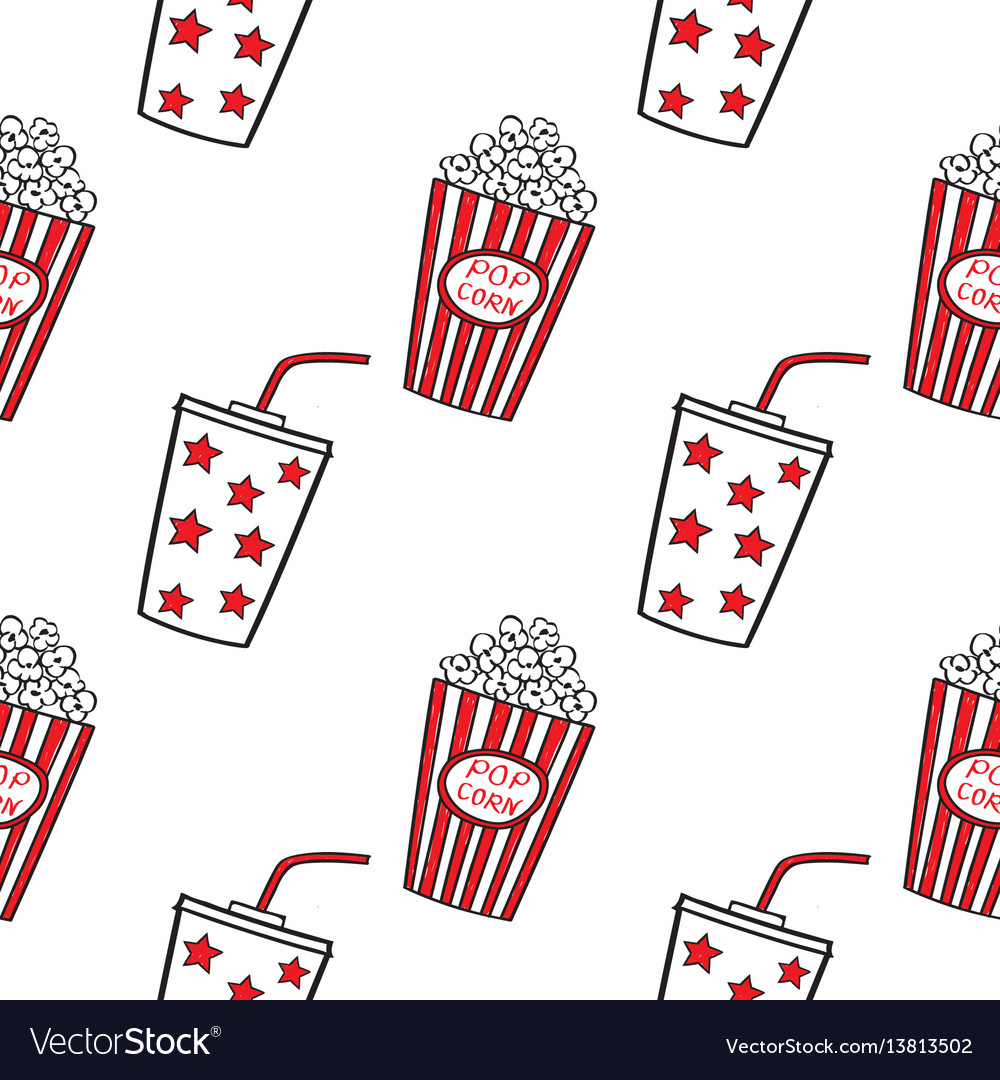 Popcorn and drink doodle seamless