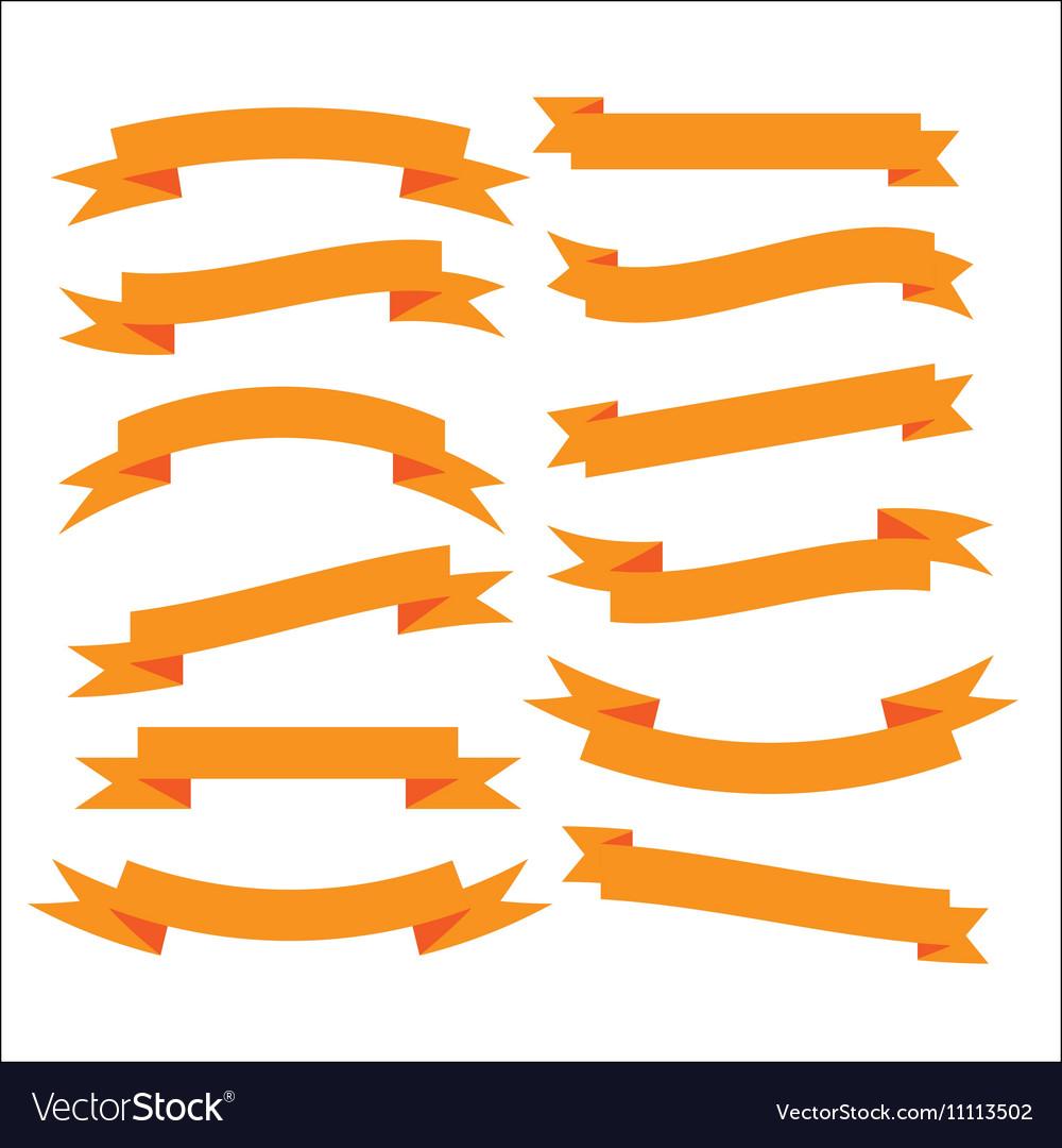 Set of beautiful festive orange ribbons