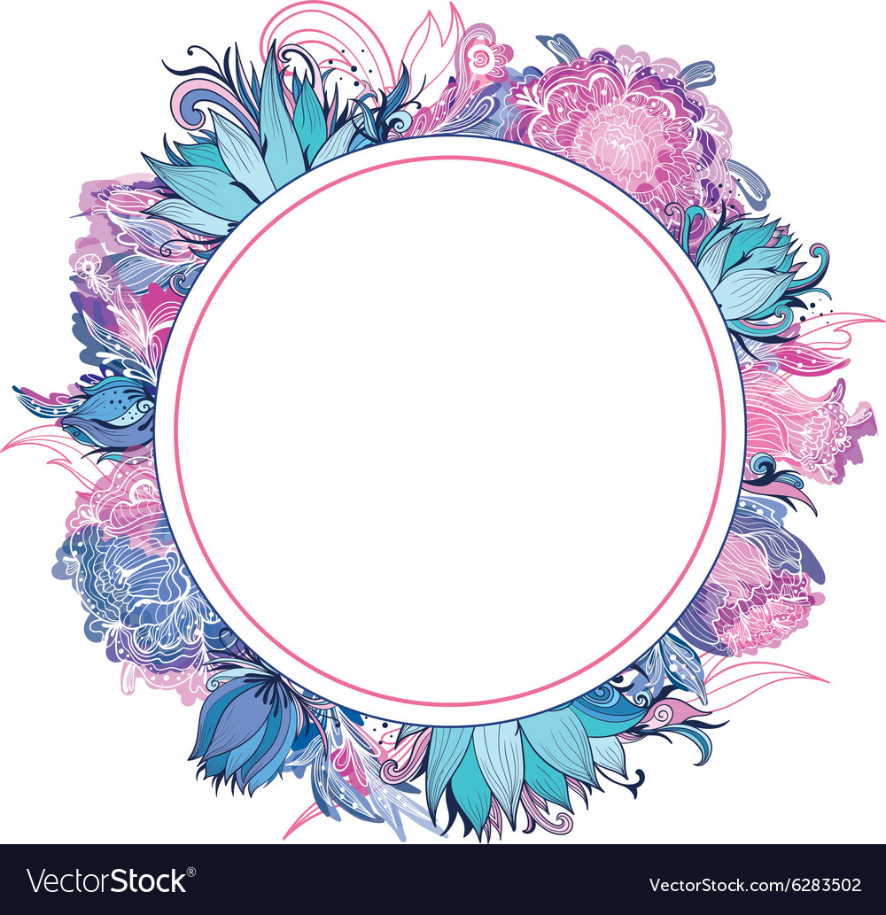 Tender Pink And Blue Floral Frame Royalty Free Vector Image