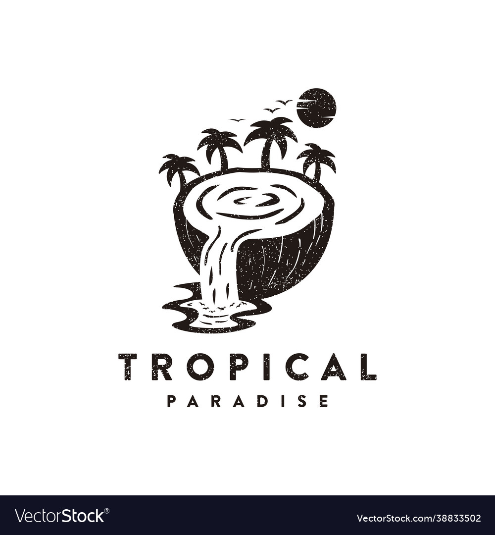 Traveling logo coconut with waterfall