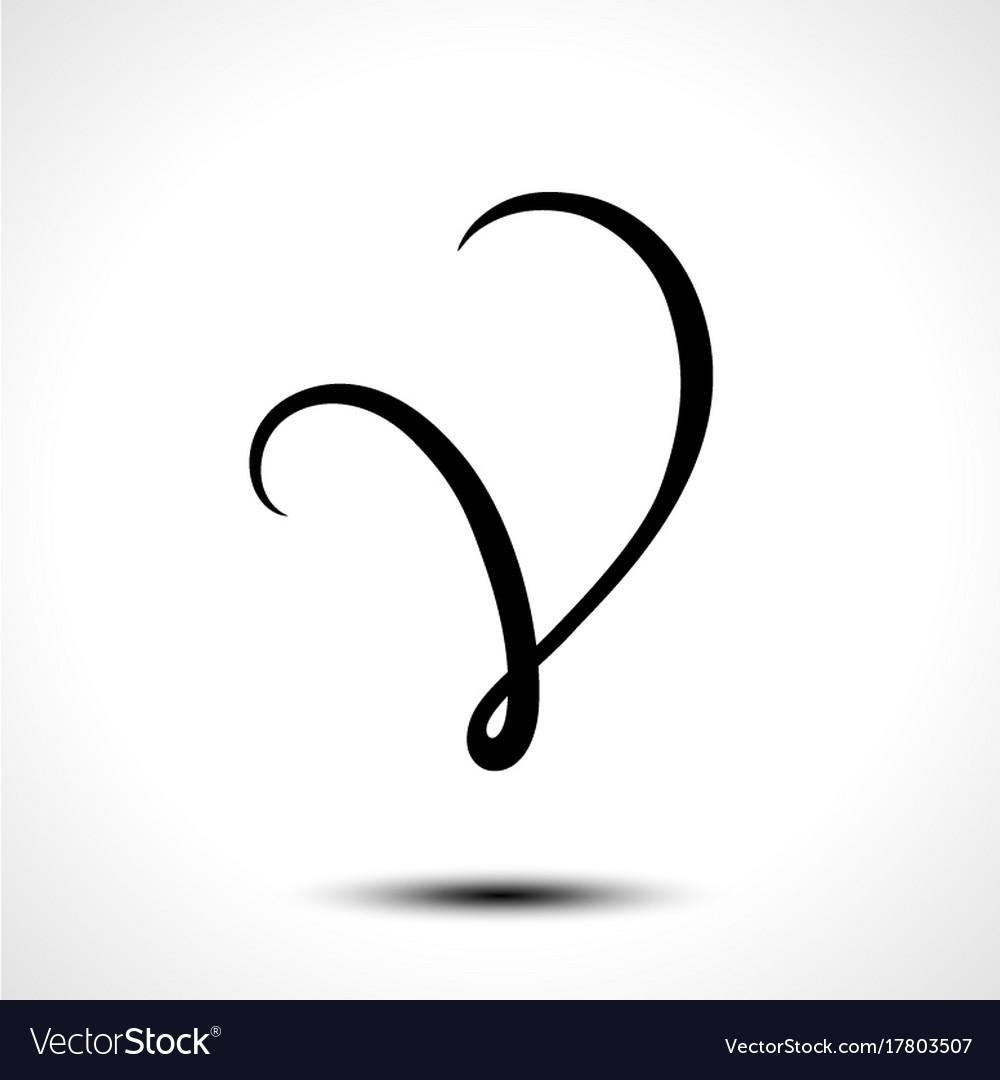 Alphabet Letter V Lettering Calligraphy Vector Image