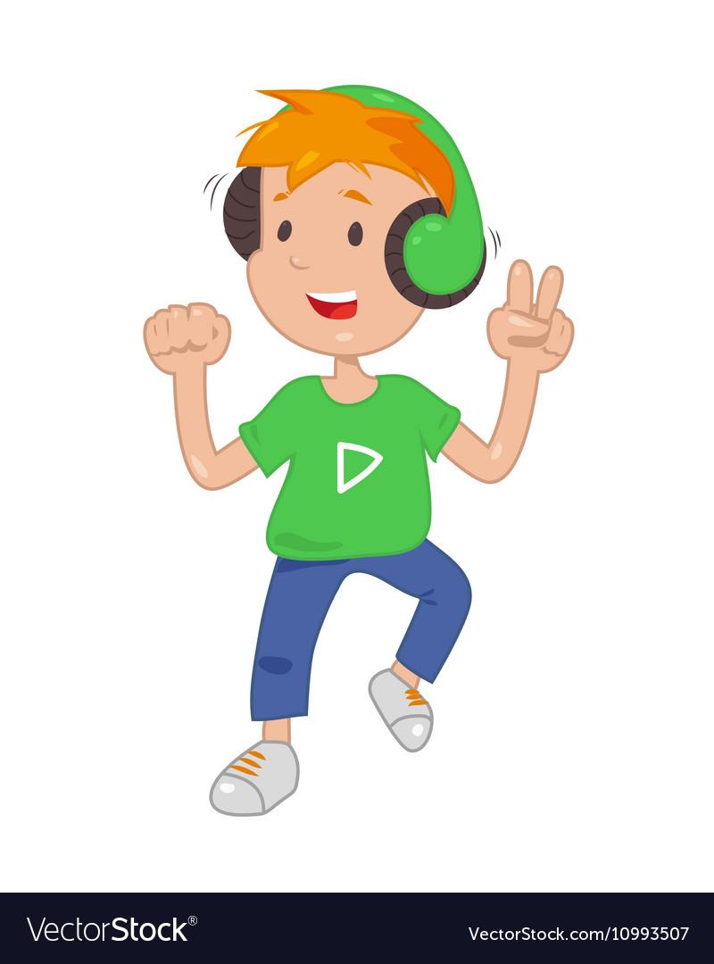 Baby in headphones listening music icon