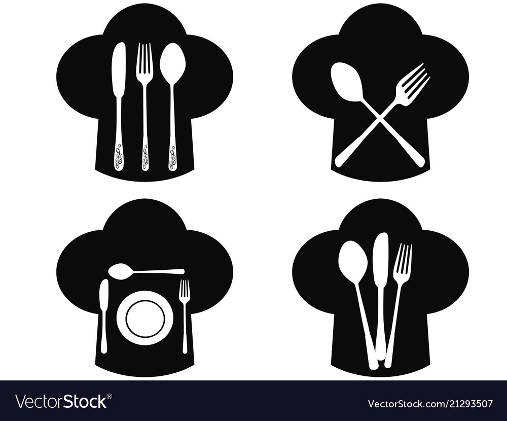 Chef hat with fork knife and spoon icons