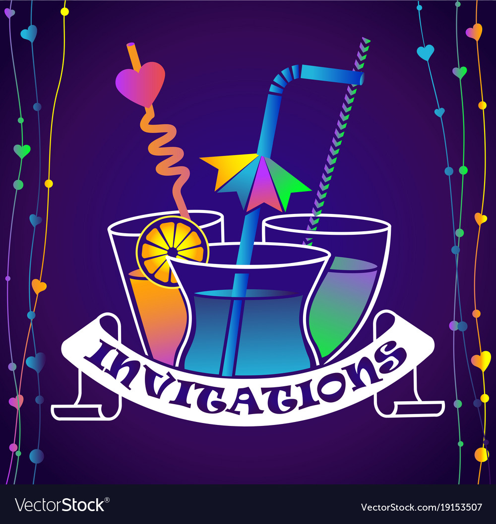 Cocktail Party Invitation Dark Background Vector Image