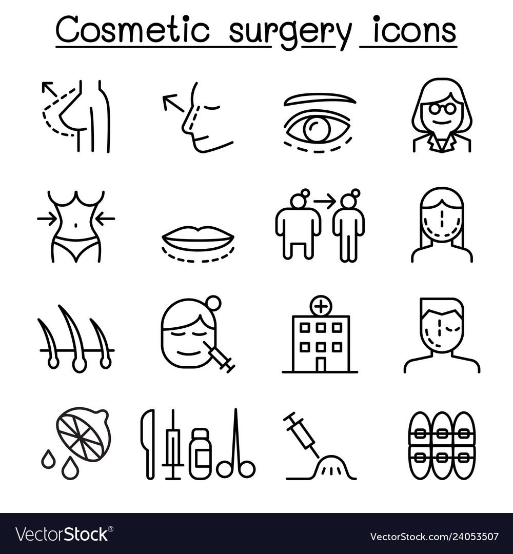 Cosmetic surgery surgical operation icon set