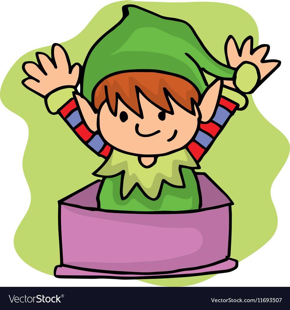 Elf helper on gift box Christmas
