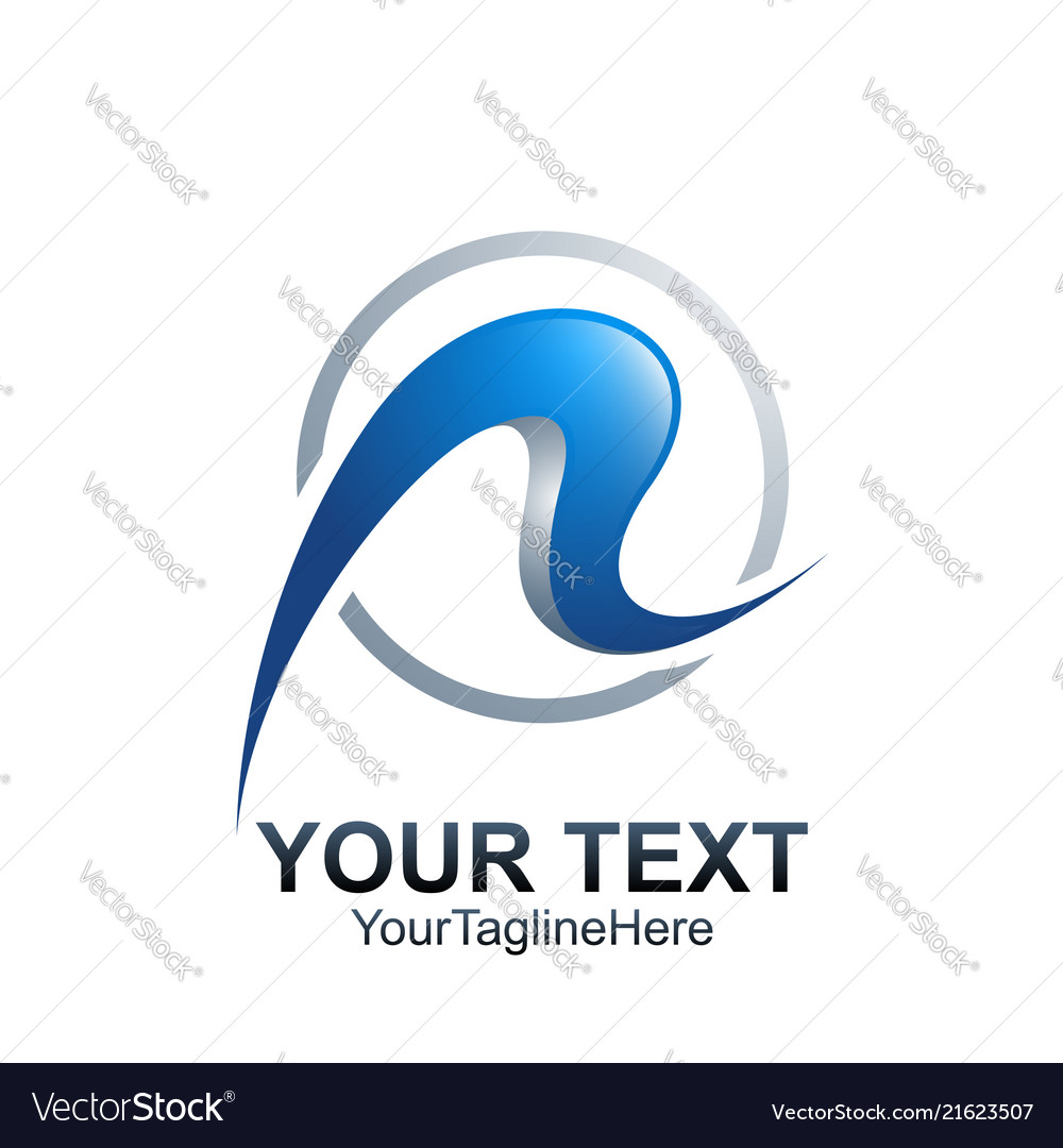 initial letter r logo template colored blue vector image