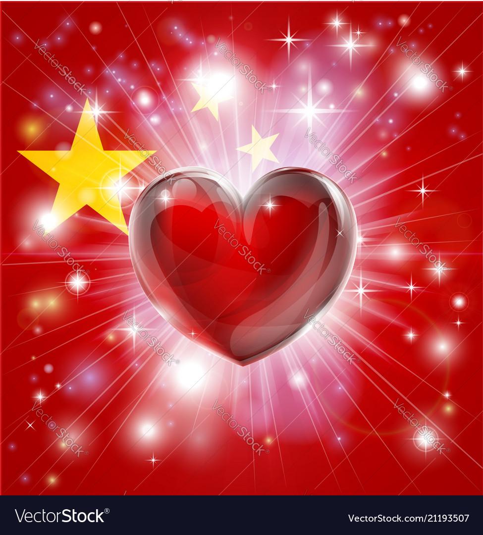 Love china flag heart background