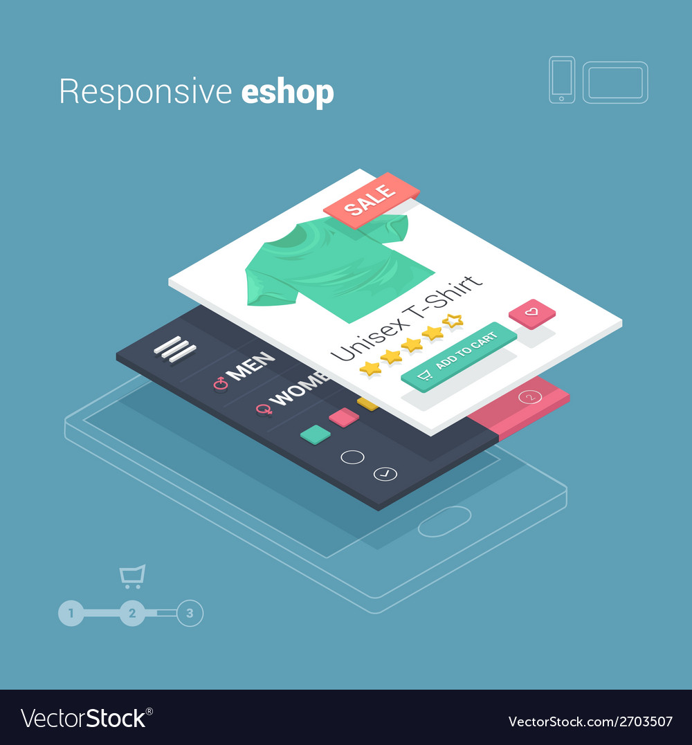 Mobile shopping with responsive eshop website appl